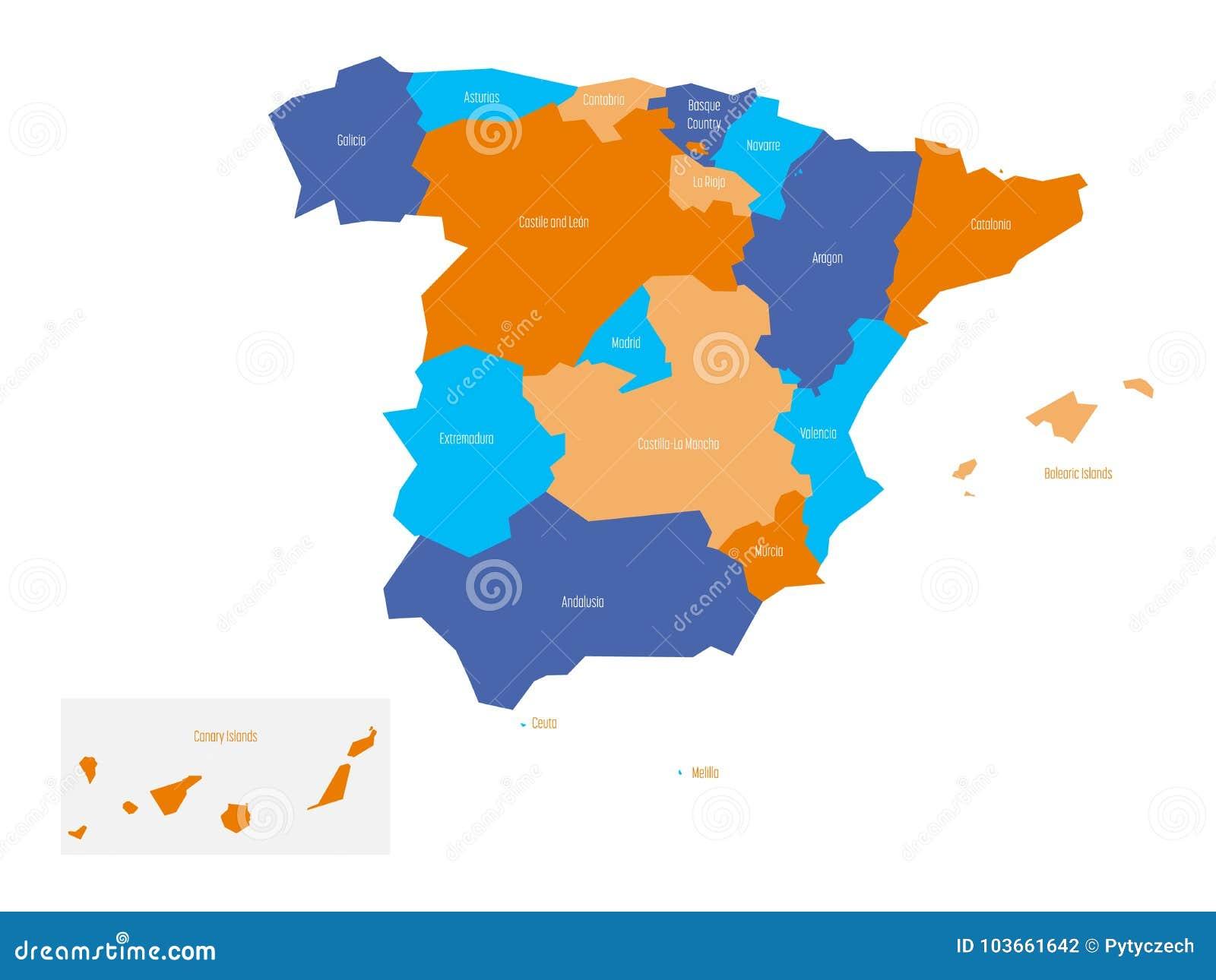 Melilla Spain Map.Map Of Spain Devided To Administrative Autonomous Communities