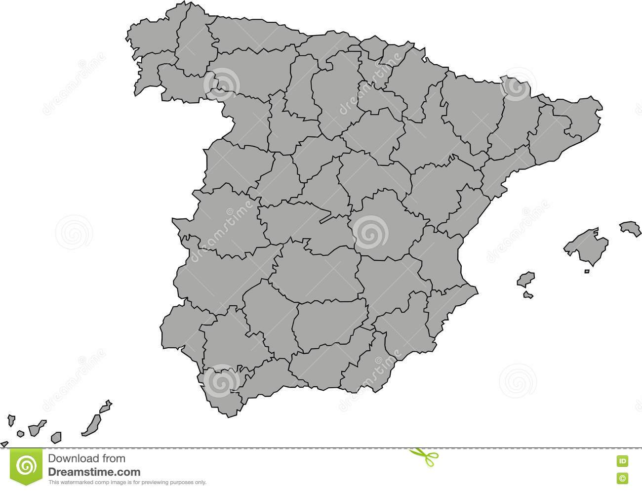 Map Of Spain By Province.Map Of Spain Stock Vector Illustration Of Spain Province 69504830