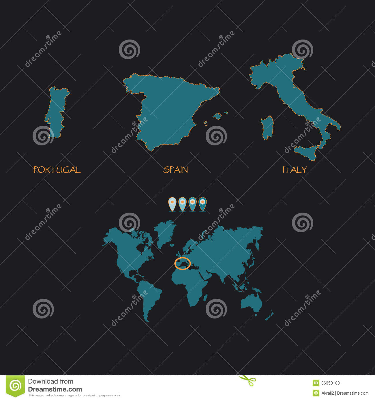 Map Of Spain Portugal And Italy.Map Of Spain Portugal Italy Stock Illustration Illustration Of