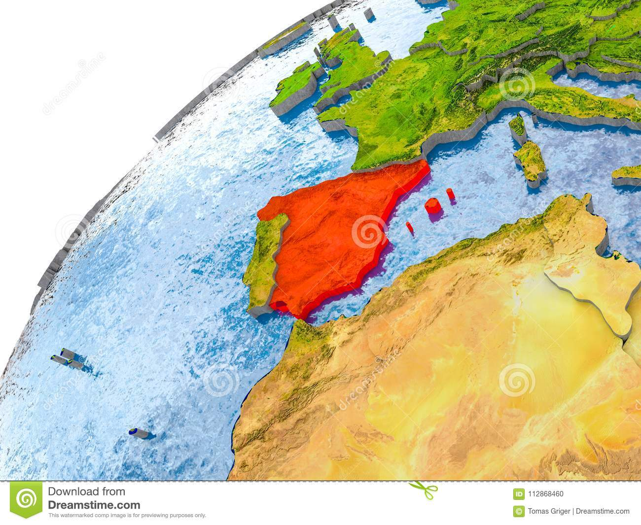 Map Of Spain Oceans.Map Of Spain In Red On Globe Stock Illustration Illustration Of