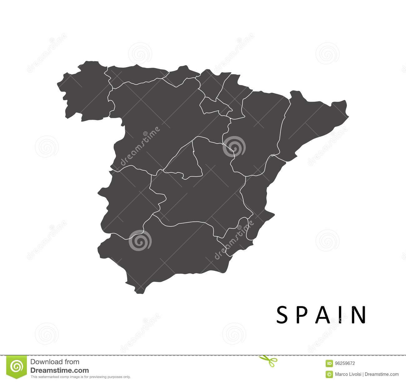 Map spain with regions stock illustration. Illustration of icon ...