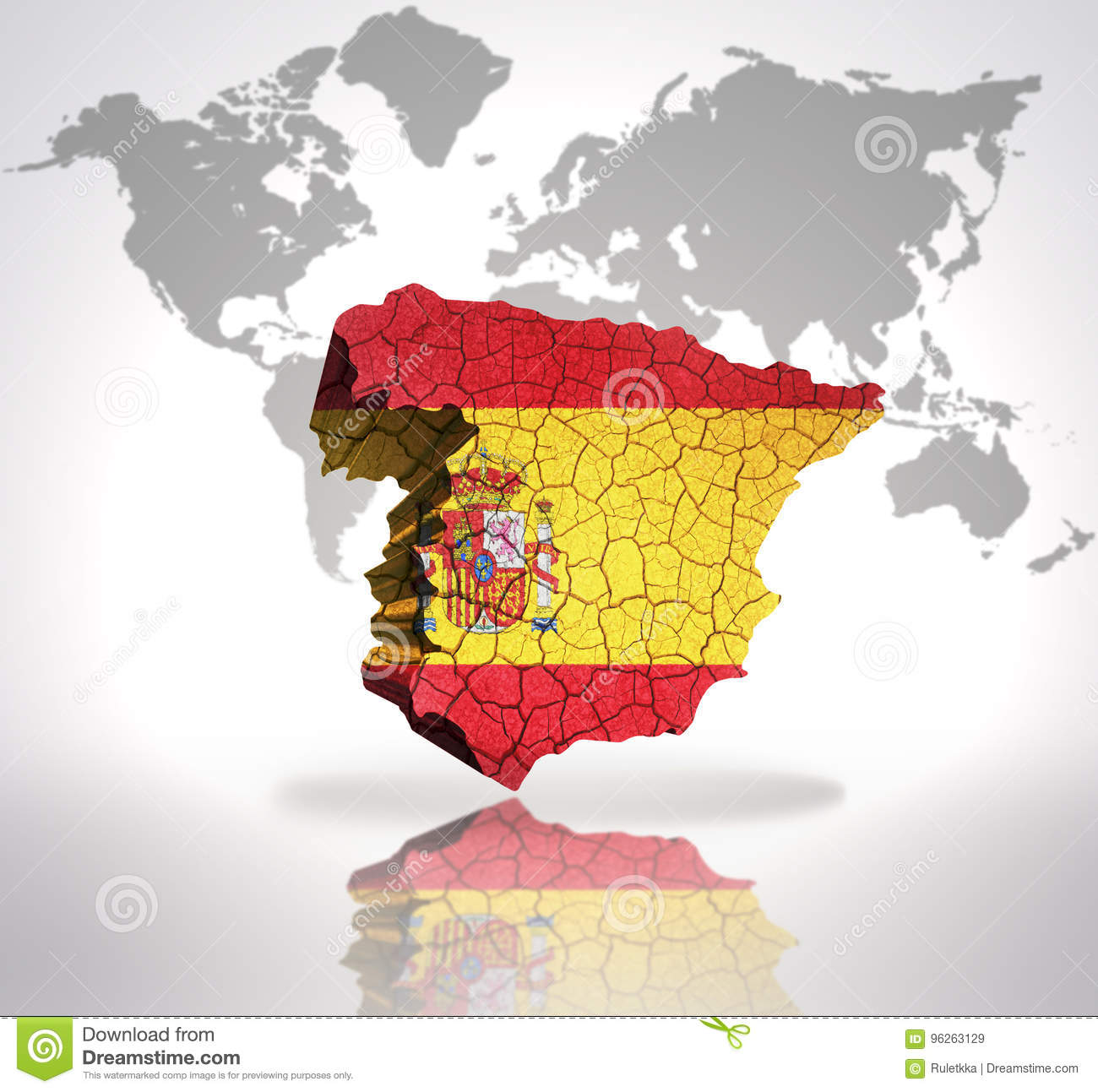 Map Of Spain In The World.Map Of Spain Stock Illustration Illustration Of Material 96263129