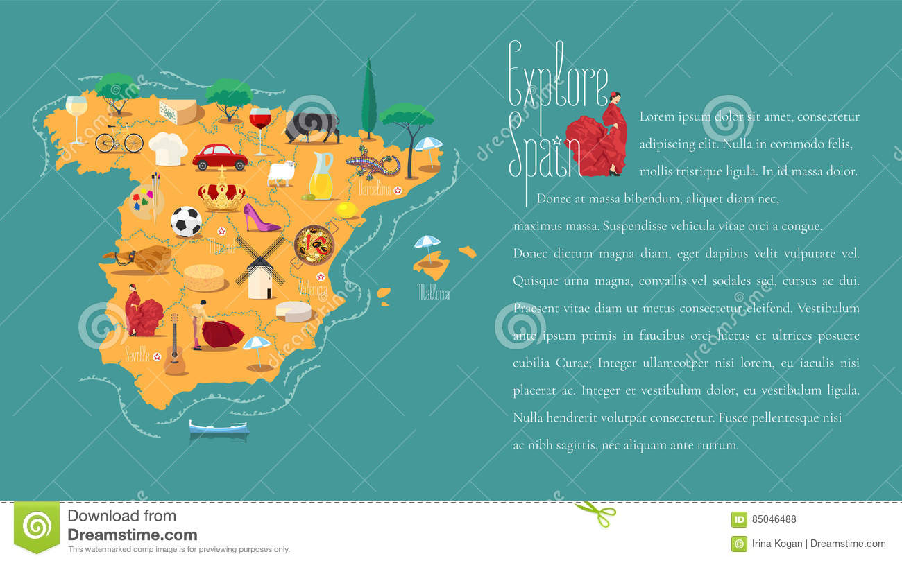 Spanish Map Of Spain.Map Of Spain Template Vector Illustration Stock Vector