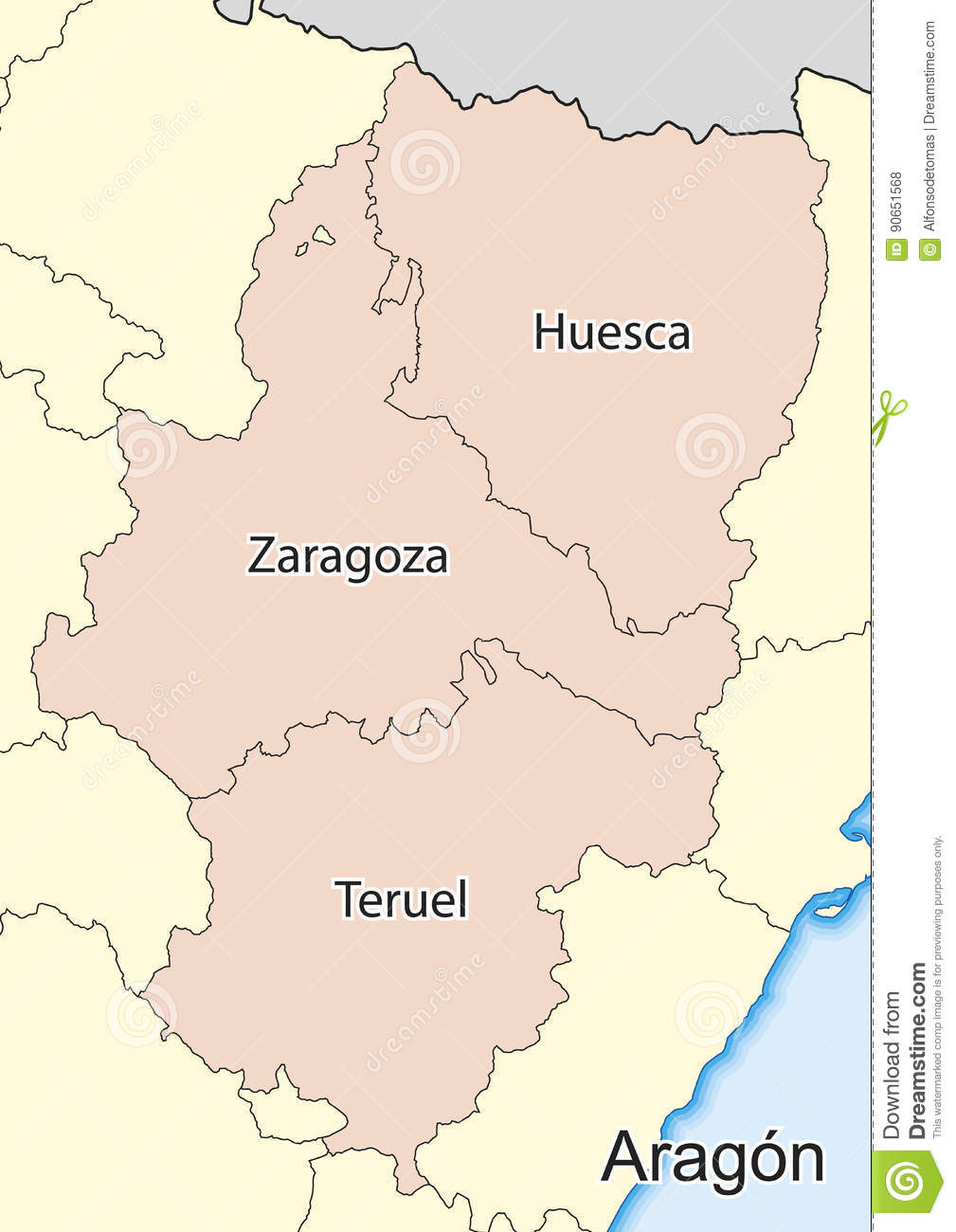 Map Of Spain Huesca.Map Of The Spanish Autonomous Community Of Aragon Stock Illustration