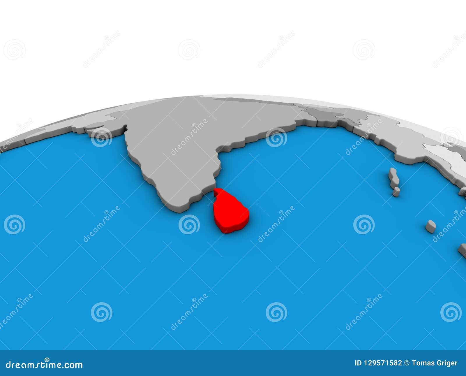 Map Of Sri Lanka On 3D Globe Stock Illustration - Illustration of ...