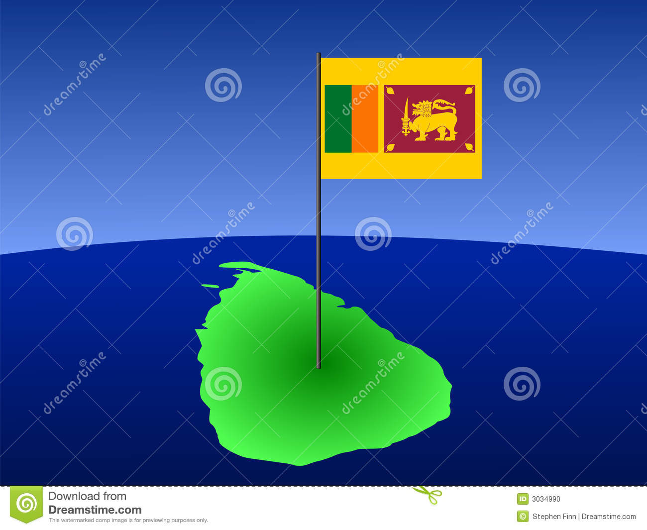 Map Of Sri Lanka With Flag Stock Photo Image 3034990