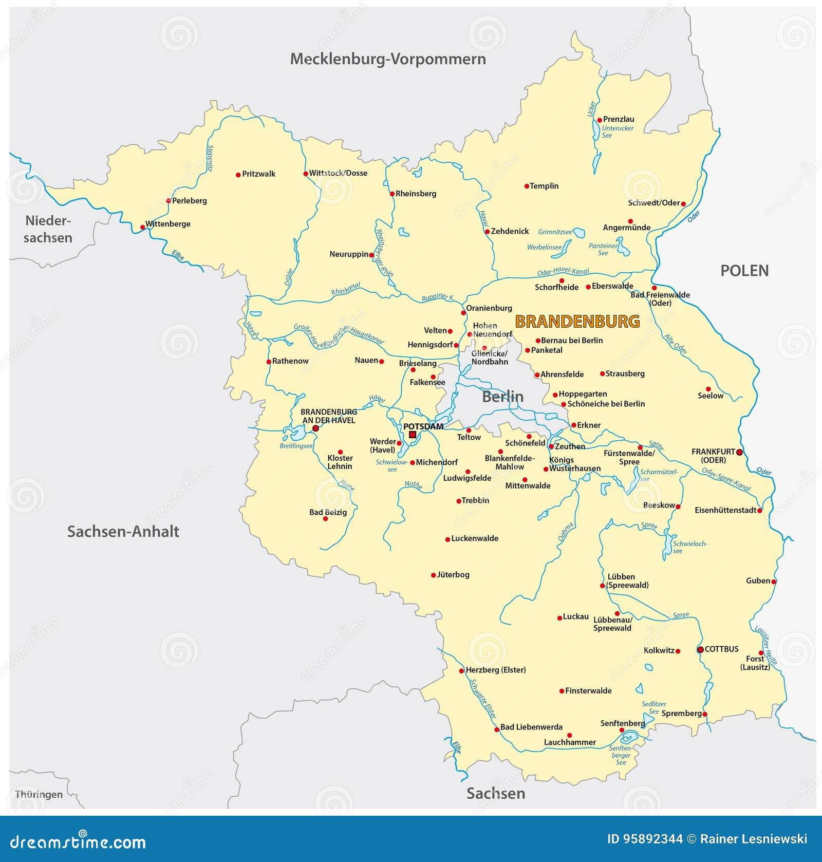 Map Of The State Of Brandenburg In German LanguageBrandenburg ...