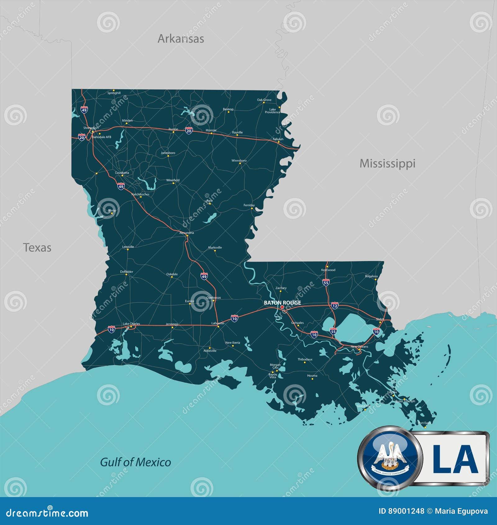 Interstate Map Of Louisiana.Map Of State Louisiana Usa Stock Vector Illustration Of Roads