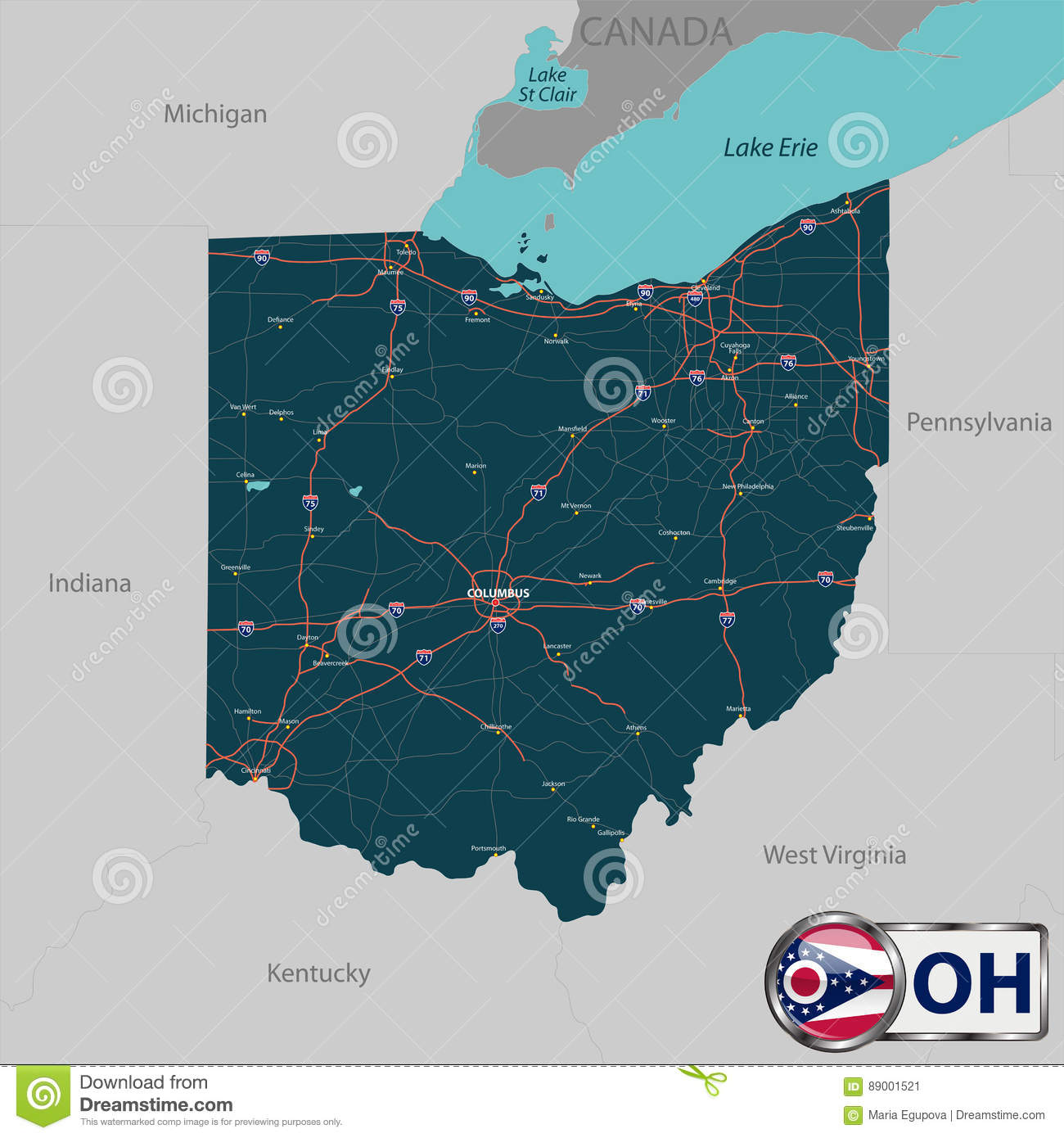 Map of state Ohio, USA stock vector. Illustration of cleveland ... Cities Map Of Ohio Us on