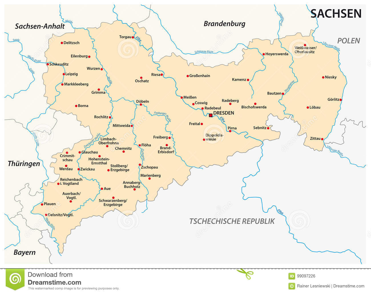 Map Of The State Saxony With The Most Important Cities In German ...