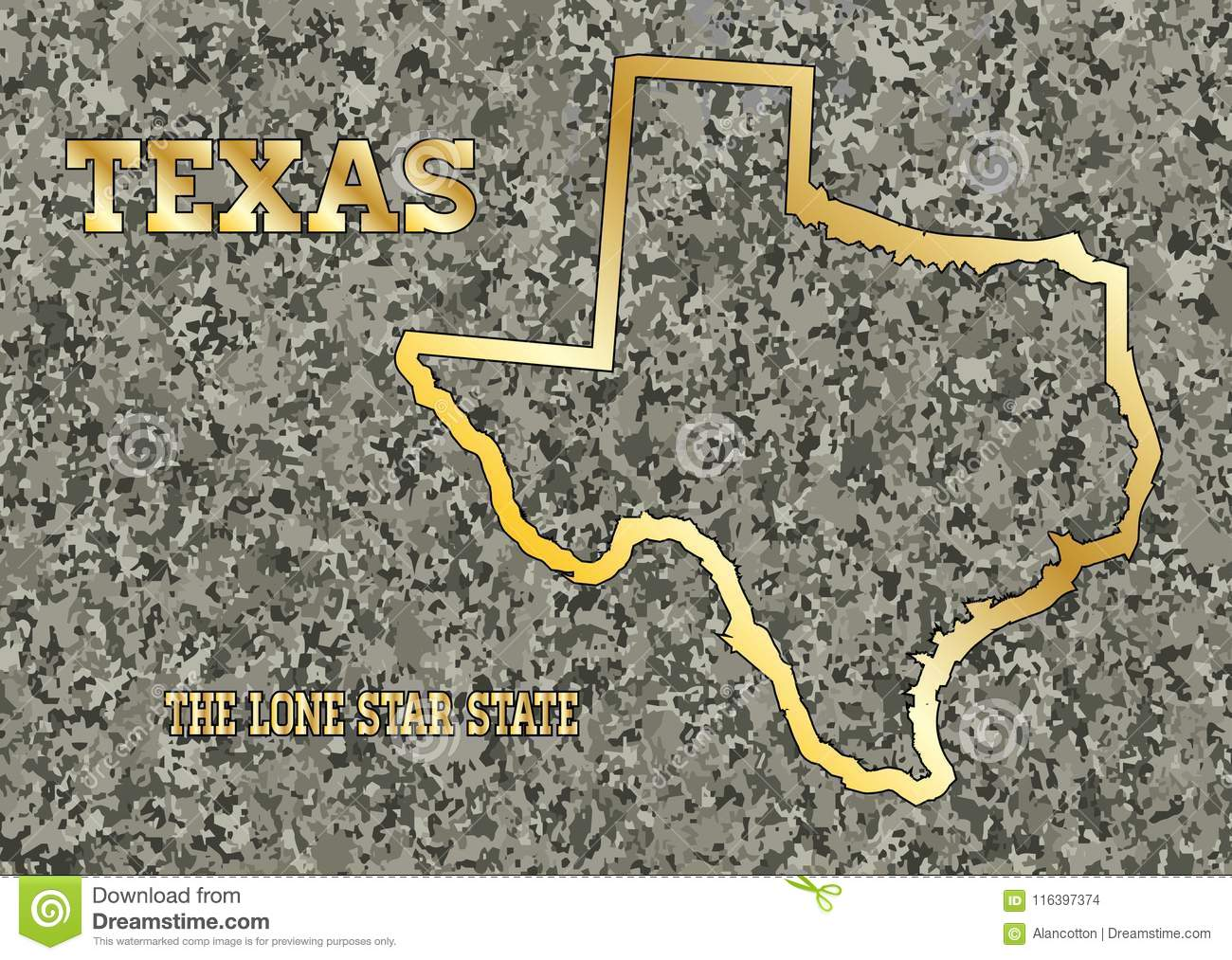 Texas Map Carved In Stone With Gold Leaf Imprint Stock Vector ...