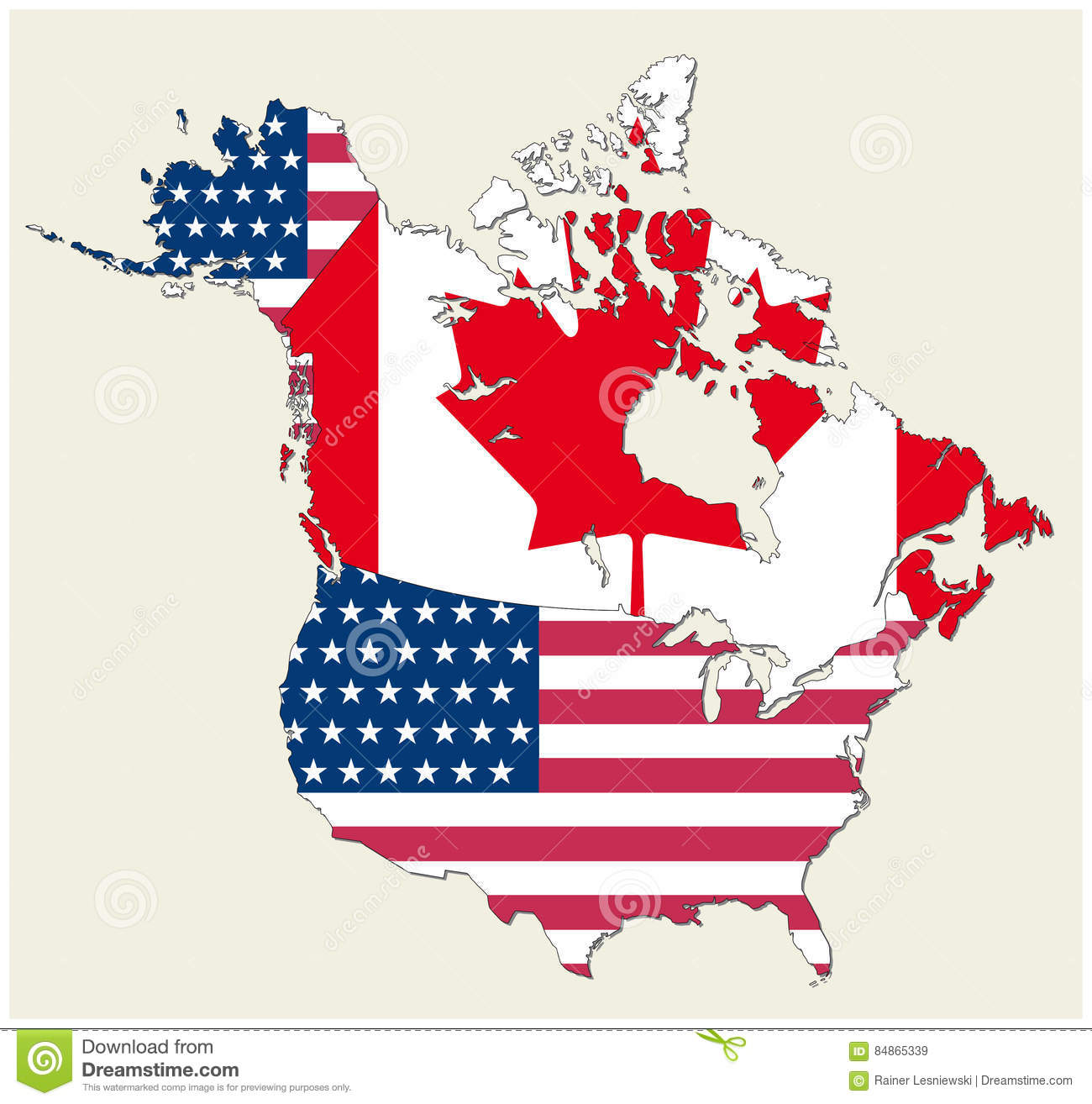 Map Of The States Of Canada And Usa Represented As Flag Stock Vector ...