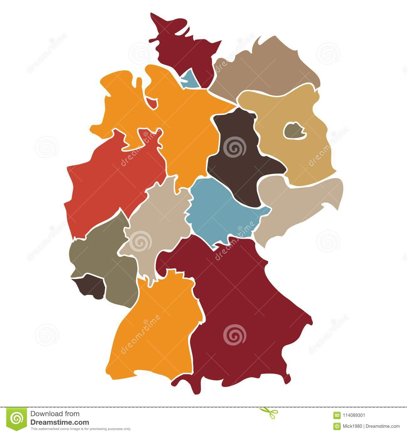 Map Of States Of Germany.Map Of States Of Germany Stock Vector Illustration Of Color 114089301