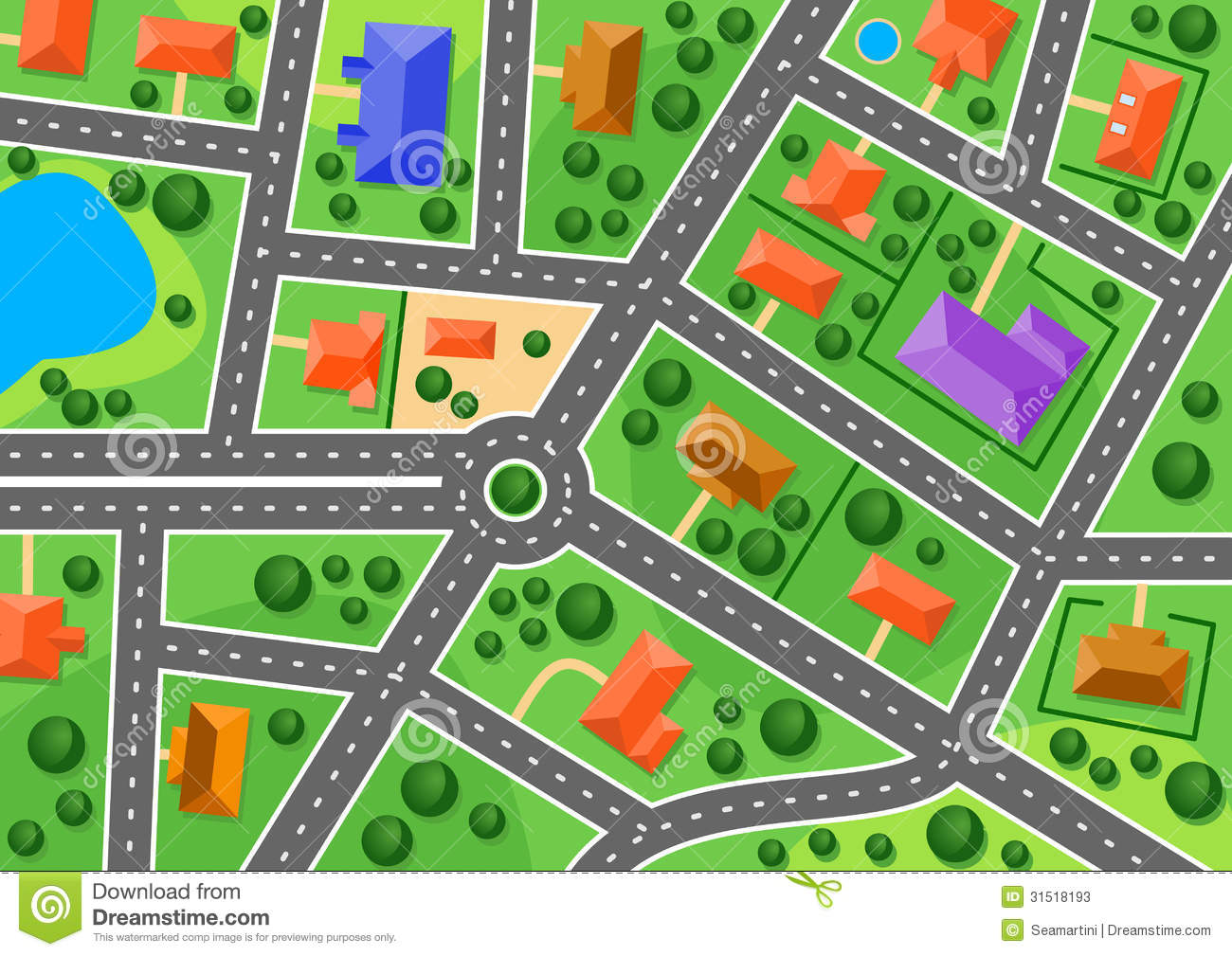 Draw A House Plan Map Of Suburb Or Little Town Stock Vector Image 31518193