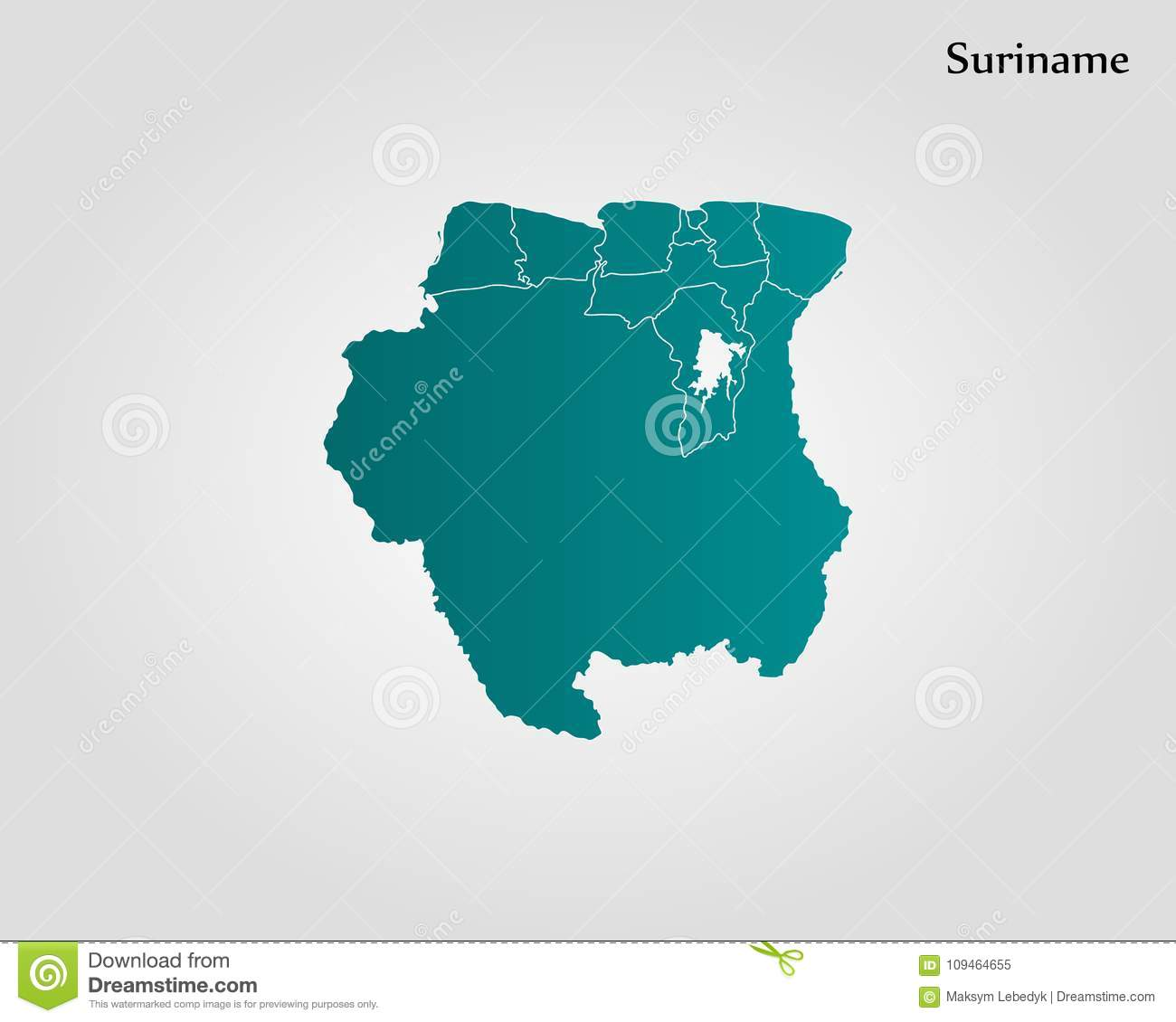 Map Of Suriname Stock Illustration Illustration Of Border 109464655