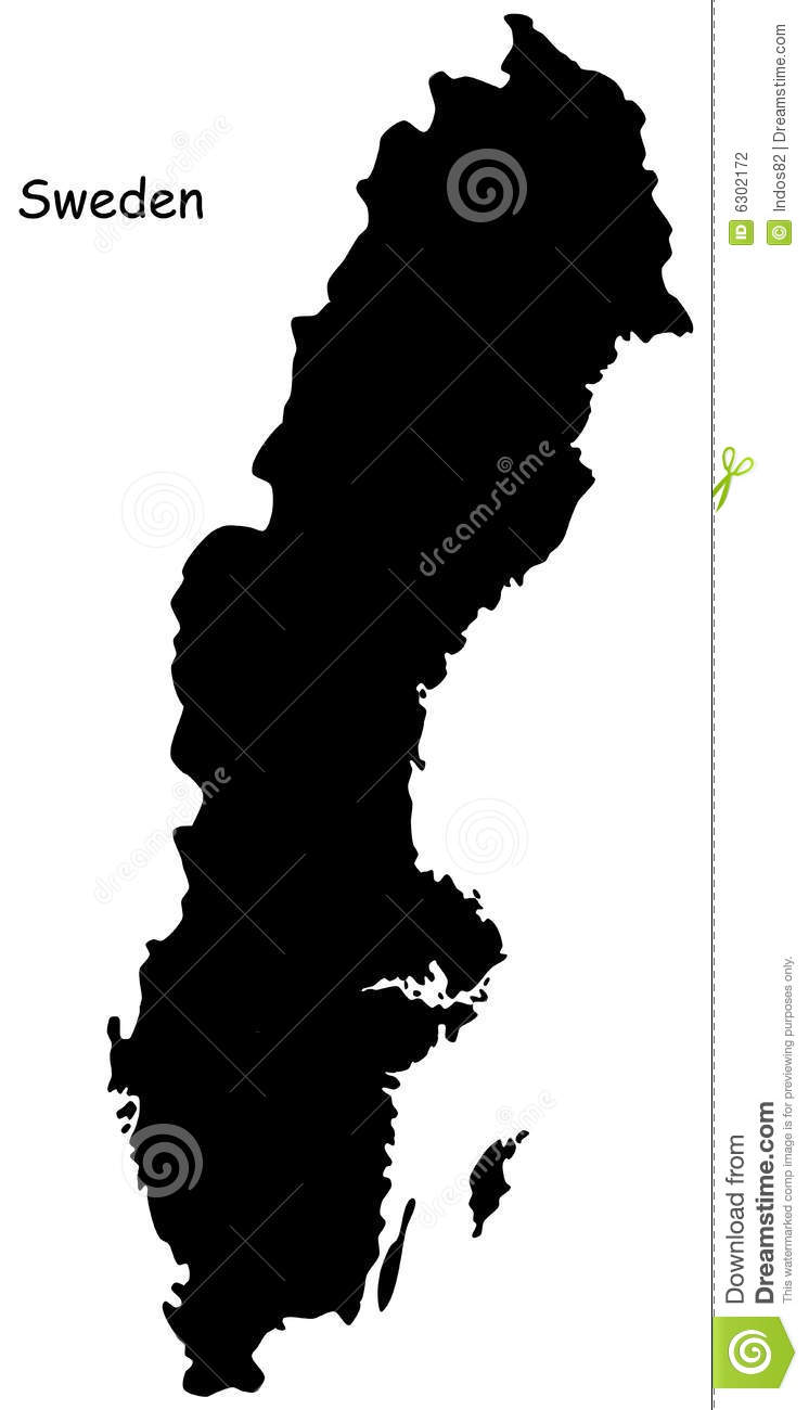 Map Of Sweden Stock Photography Image 6302172