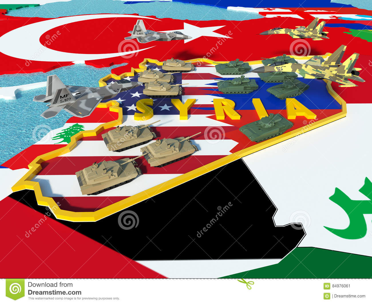 Map Of Syria Divided With USA And Russia Flags With Surrounding ...