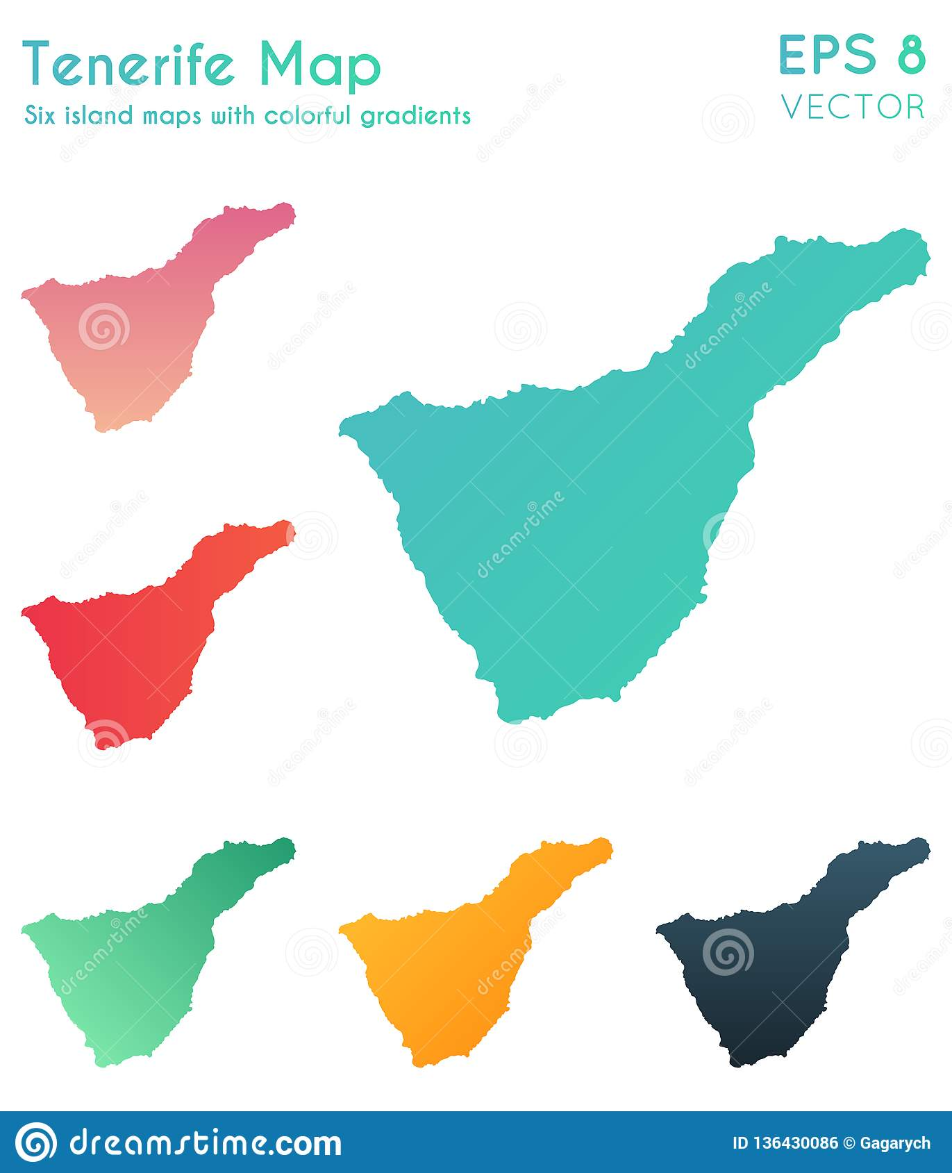 Map Of Tenerife With Beautiful Gradients. Stock Vector ...