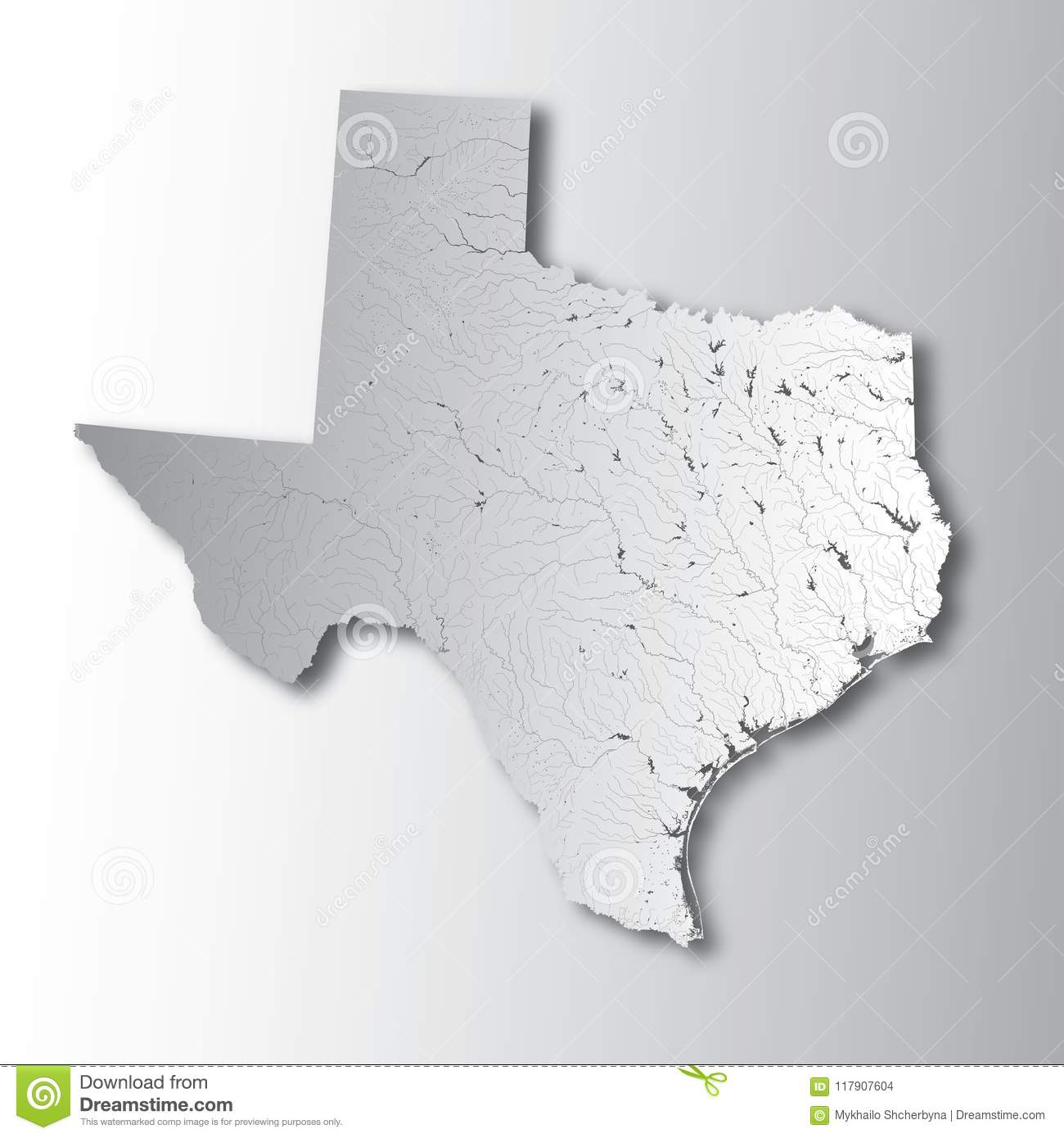 Map Of Texas Rivers And Lakes.Map Of Texas With Lakes And Rivers Stock Vector Illustration Of