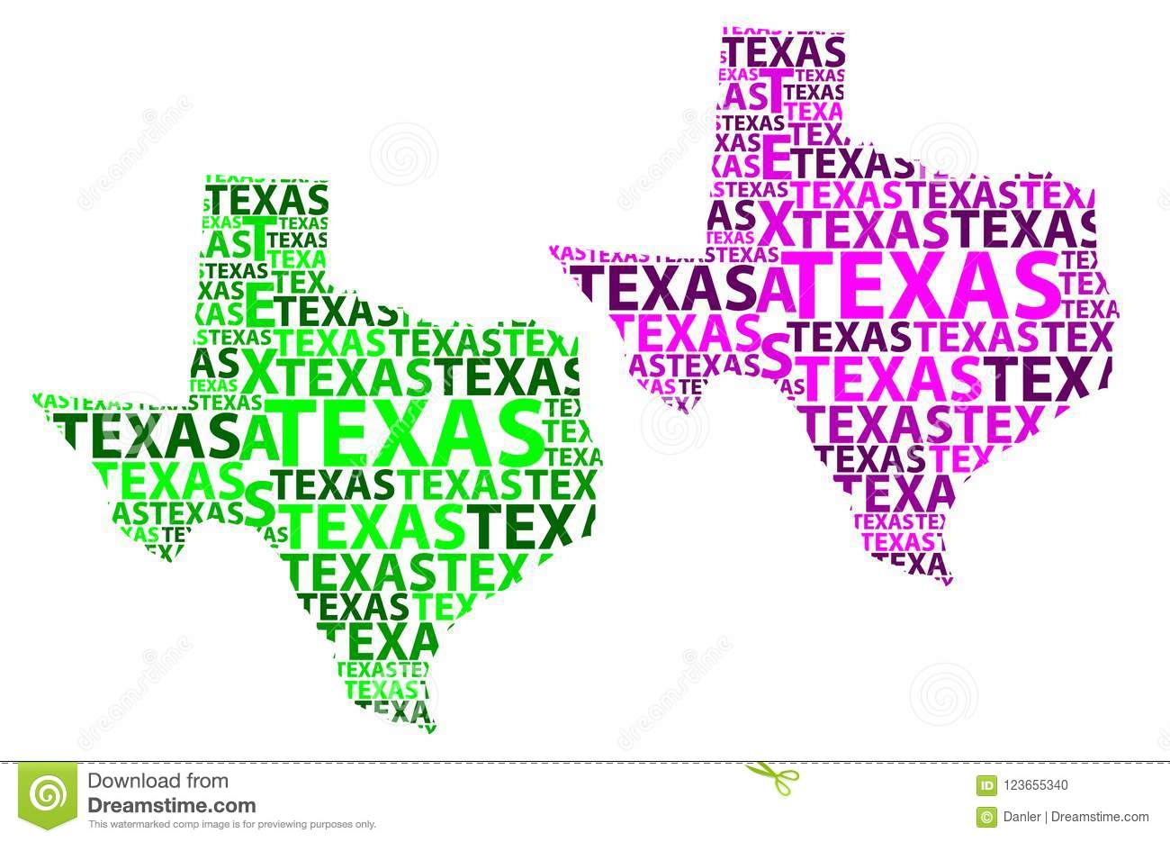 Map Of Texas United States.Map Of Texas Vector Illustration Stock Vector