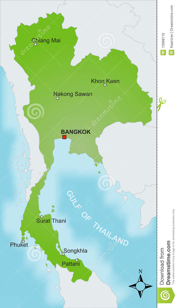 Map Thailand Stock Vector Illustration Of Symbol Colored 13998116