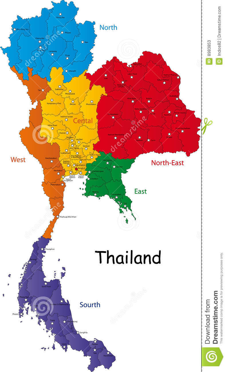 Map of Thailand stock vector. Illustration of detailed - 8983853