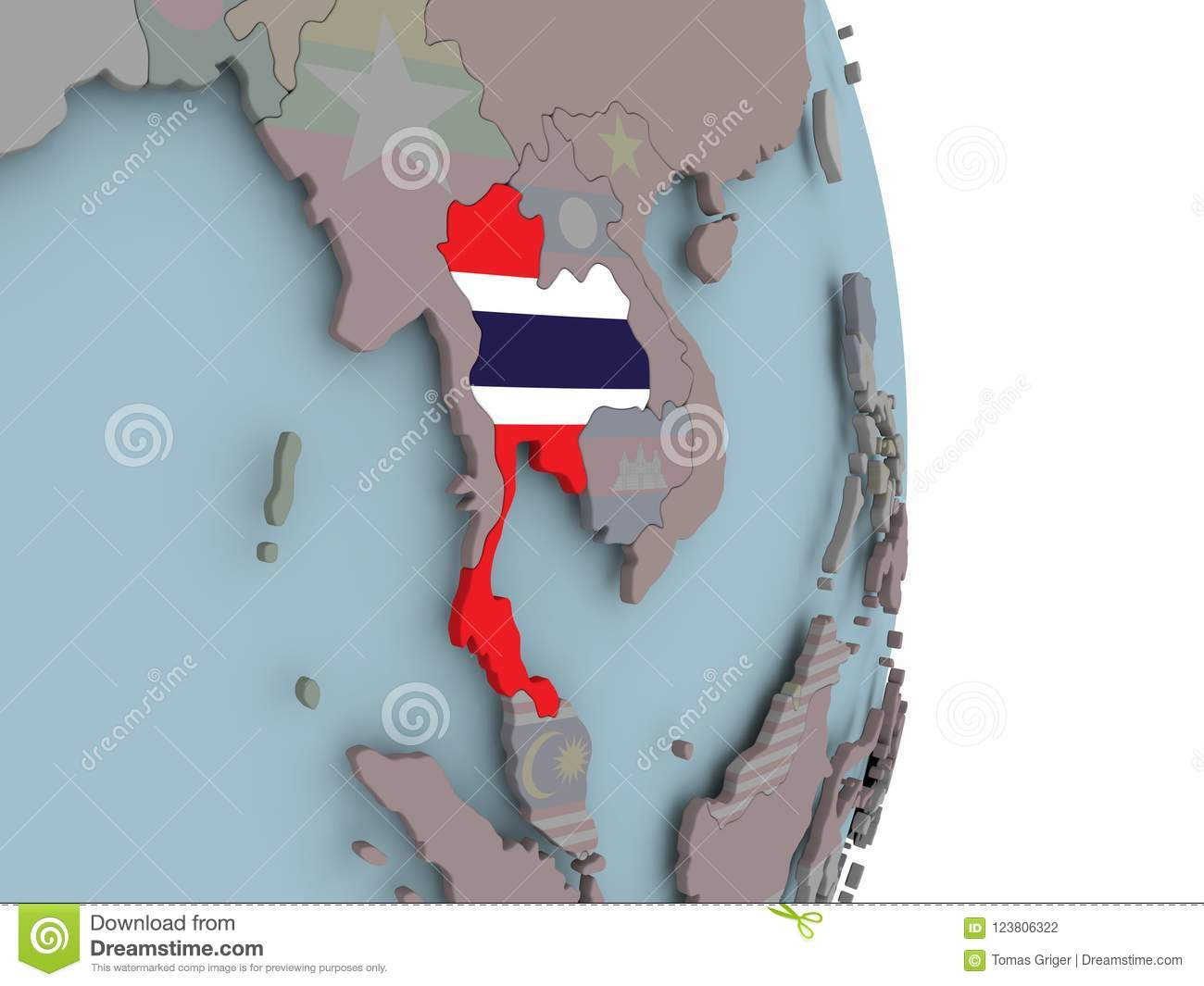 Map Of Thailand On Political Globe With Flag Stock Illustration