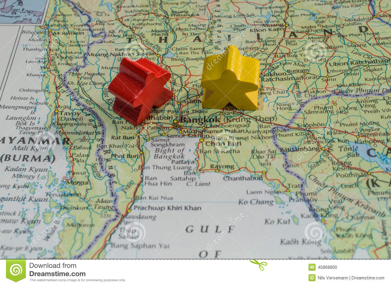 Map Of Thailand Showing Conflict Between Red Shirts And Yellow - Been there map