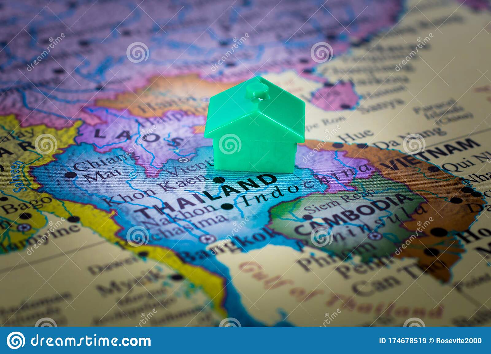 Picture of: Map Of Thailand In Asia With House Or Relocation Editorial Stock Image Image Of Tropical Thailand 174678519