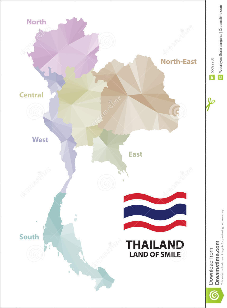 Map Thailand. stock vector. Illustration of template - 55399960