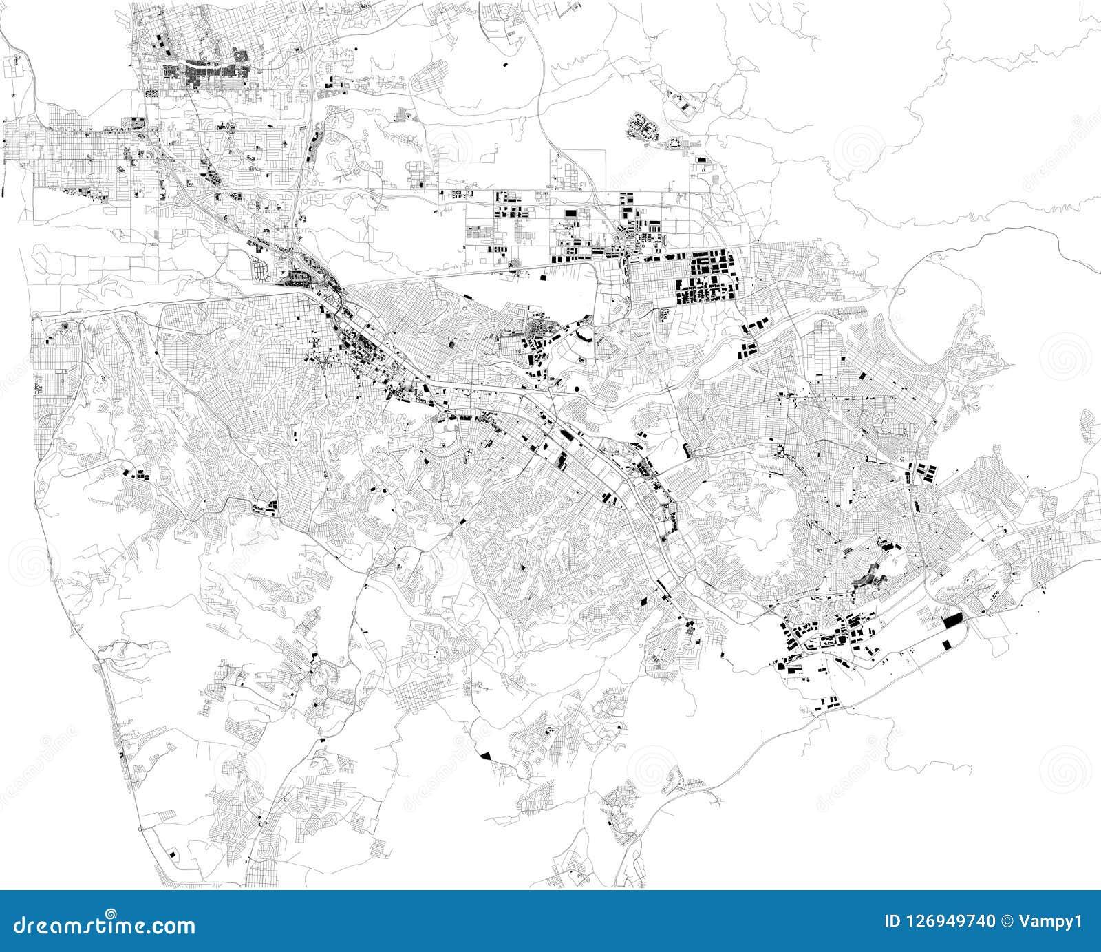 Map Of Tijuana, Satellite View, Black And White Map. Mexico ... California Satellite Map on