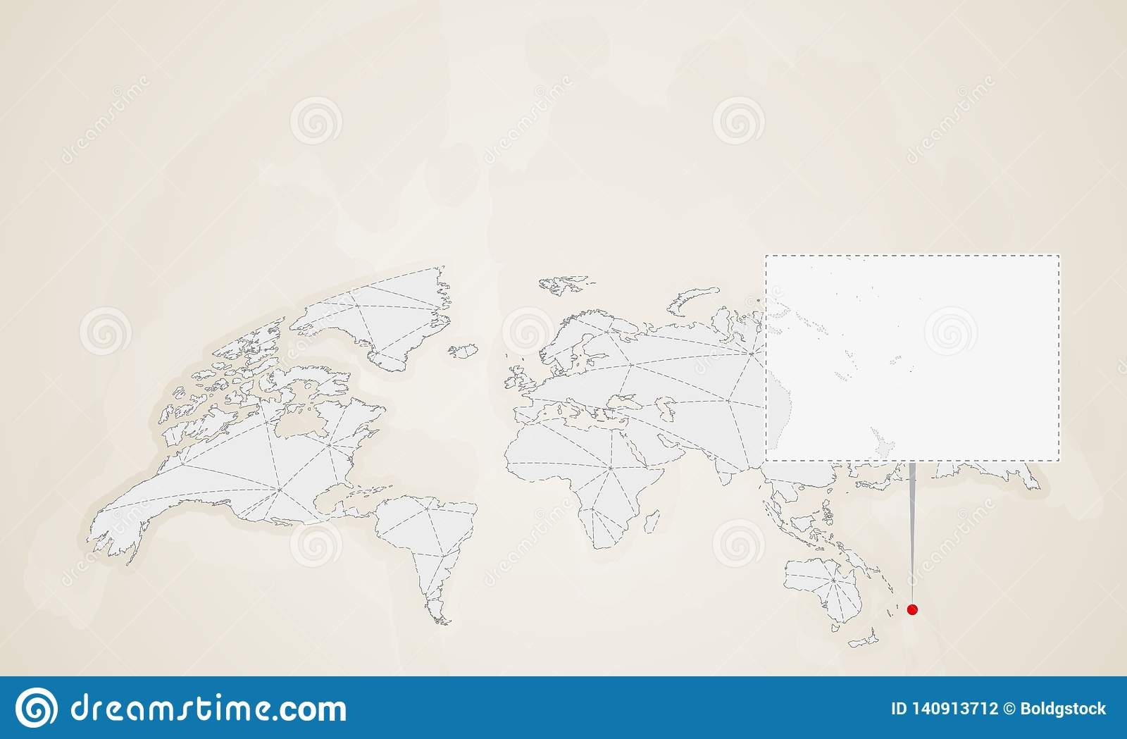 Image of: Map Of Tonga With Neighbor Countries Pinned On World Map Stock Illustration Illustration Of Region Vector 140913712