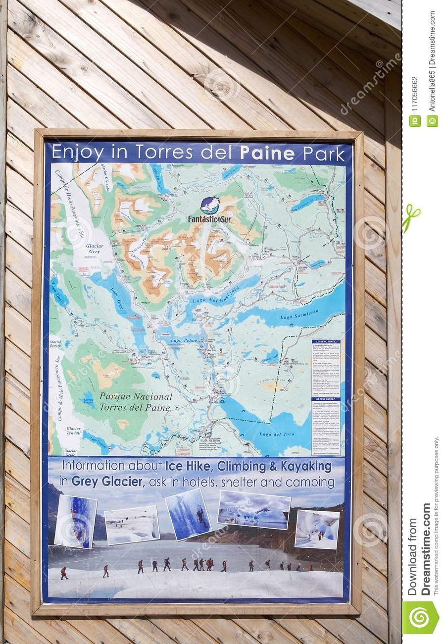 Map O The Torres Del Paine National Park Chilean Patagonia
