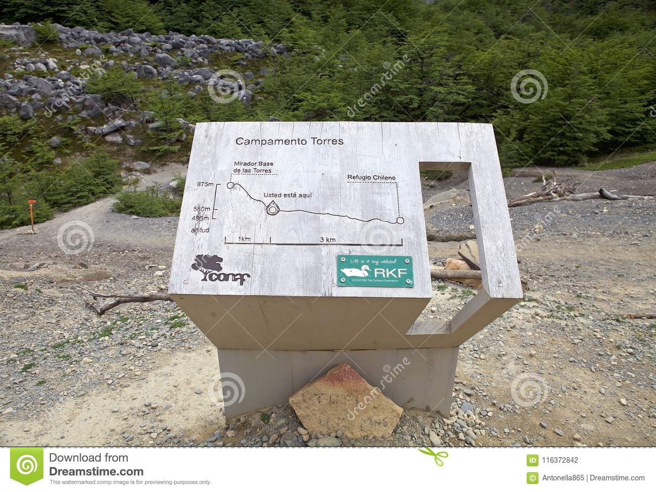 Map Of The Trail To The Torres Del Paine At The Torres Del
