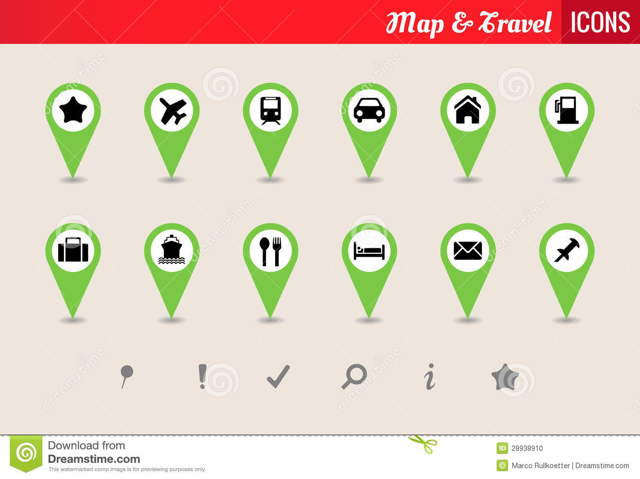 Map Amp Travel Vector Icon Set Stock Photo Image 28938910