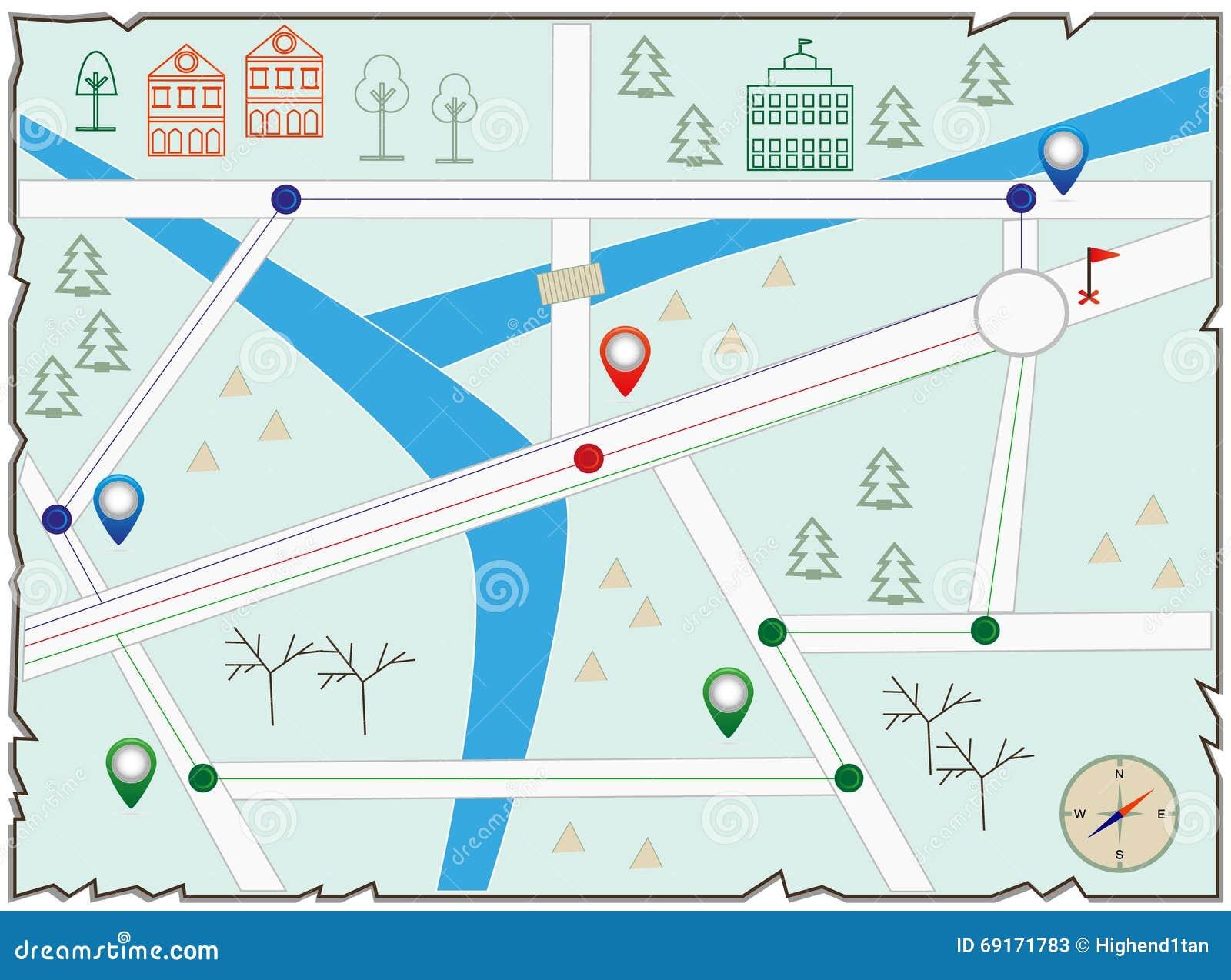 Map of treasure island stock illustration  Illustration of