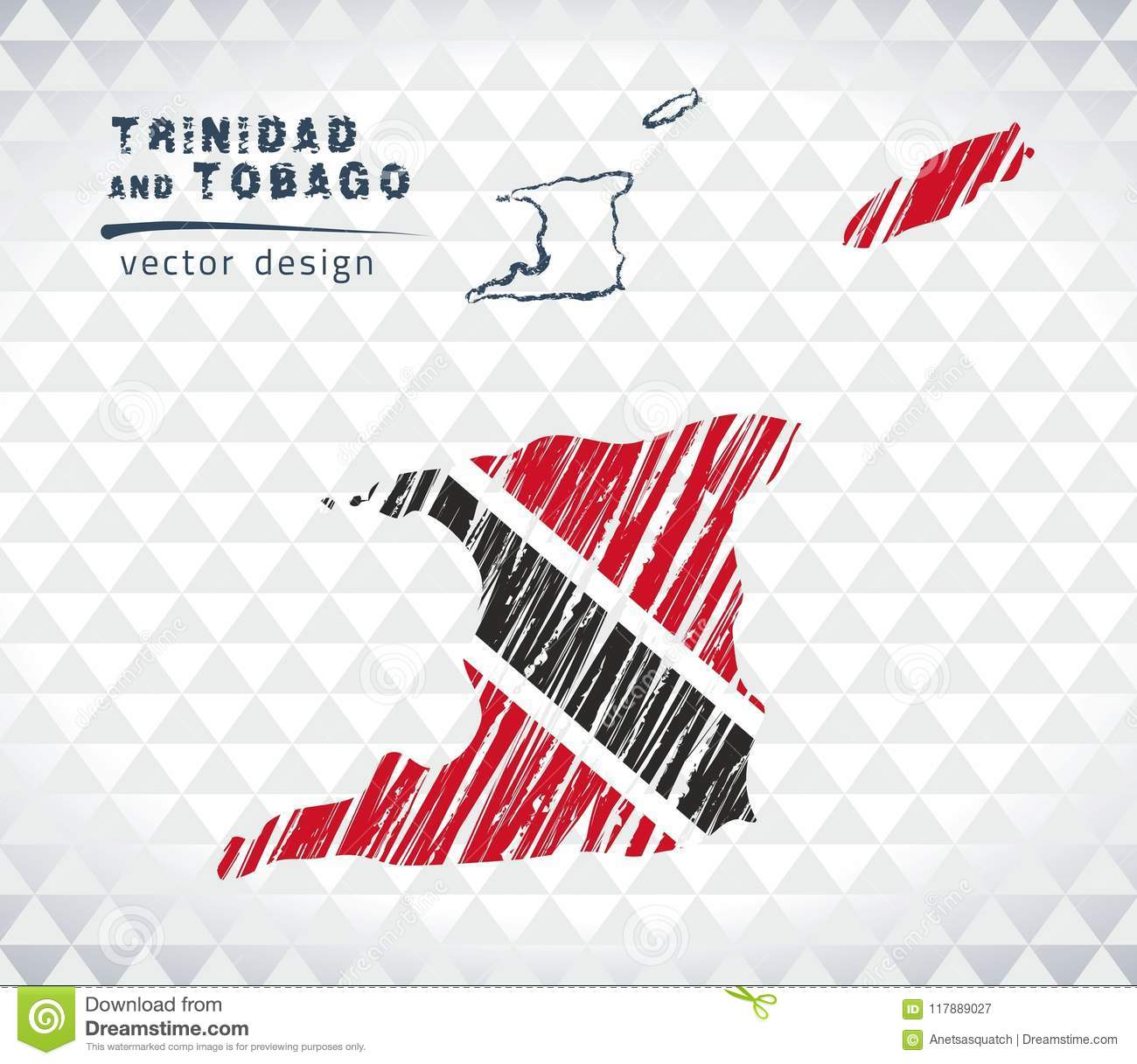 Map of Trinidad and Tobago with hand drawn sketch pen map inside. Vector illustration