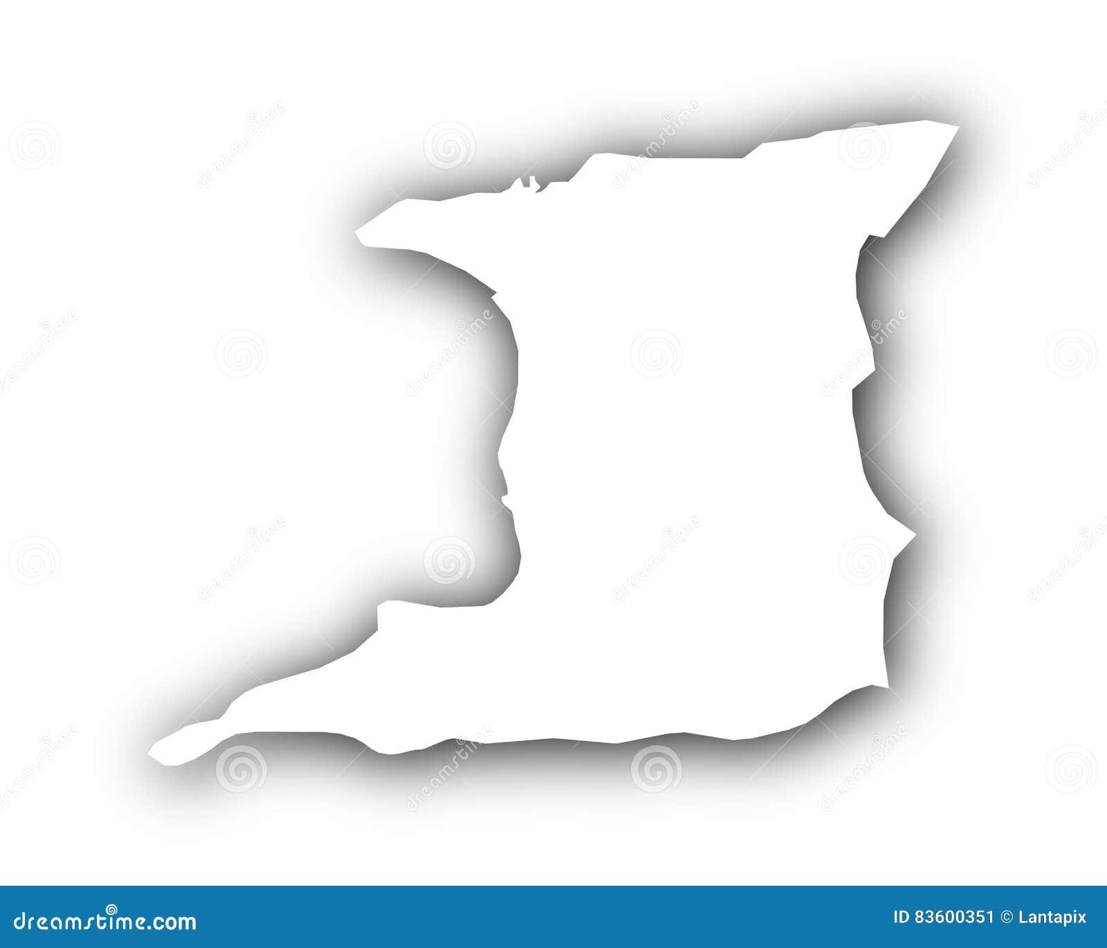 Map Of Trinidad And Tobago With Shadow Stock Vector Illustration - Trinidad map