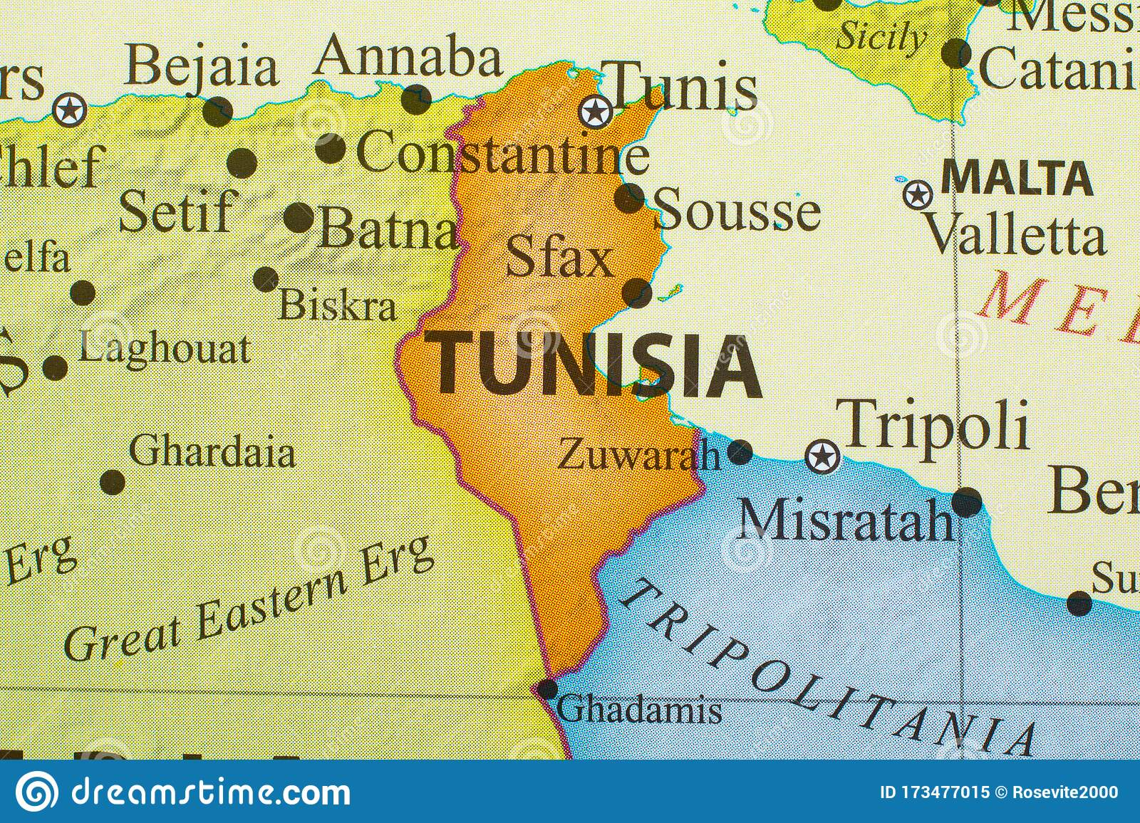 Picture of: Map Of Tunisia Stock Image Image Of City Country Tunisia 173477015