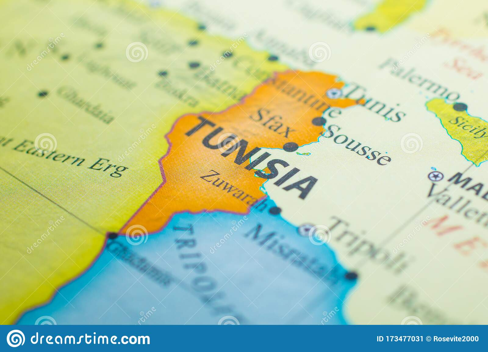 Picture of: Map Of Tunisia Stock Image Image Of Tunis Border Territory 173477031
