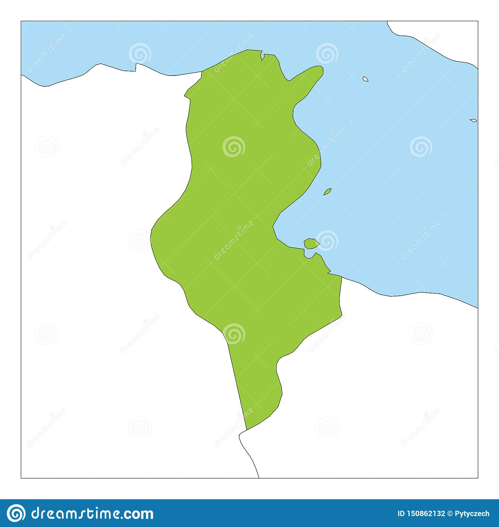 Picture of: Map Of Tunisia Green Highlighted With Neighbor Countries Stock Vector Illustration Of African Neighbor 150862132