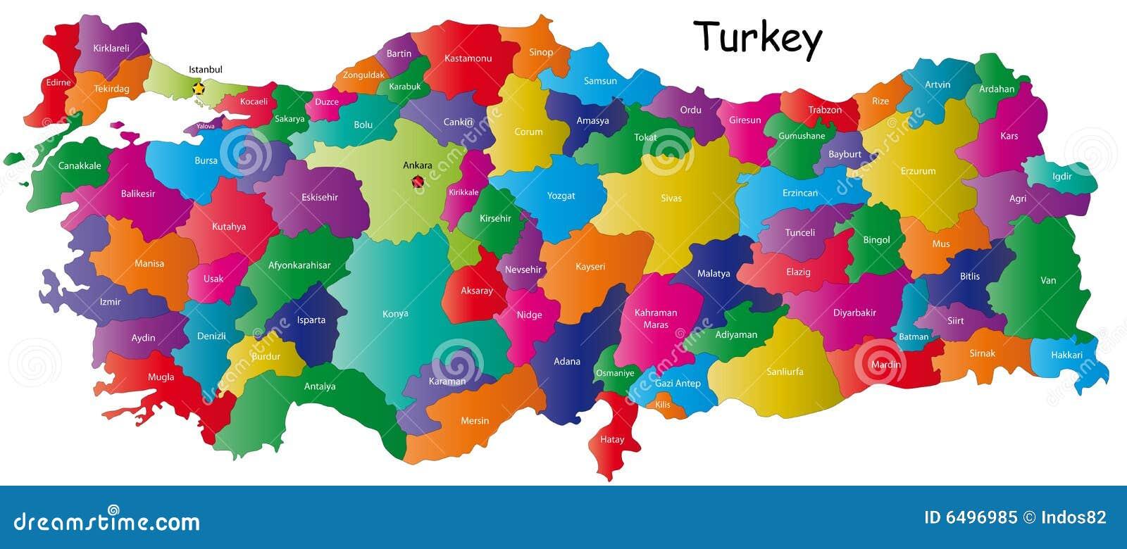 Map of Turkey stock vector. Illustration of iraq, background - 6496985