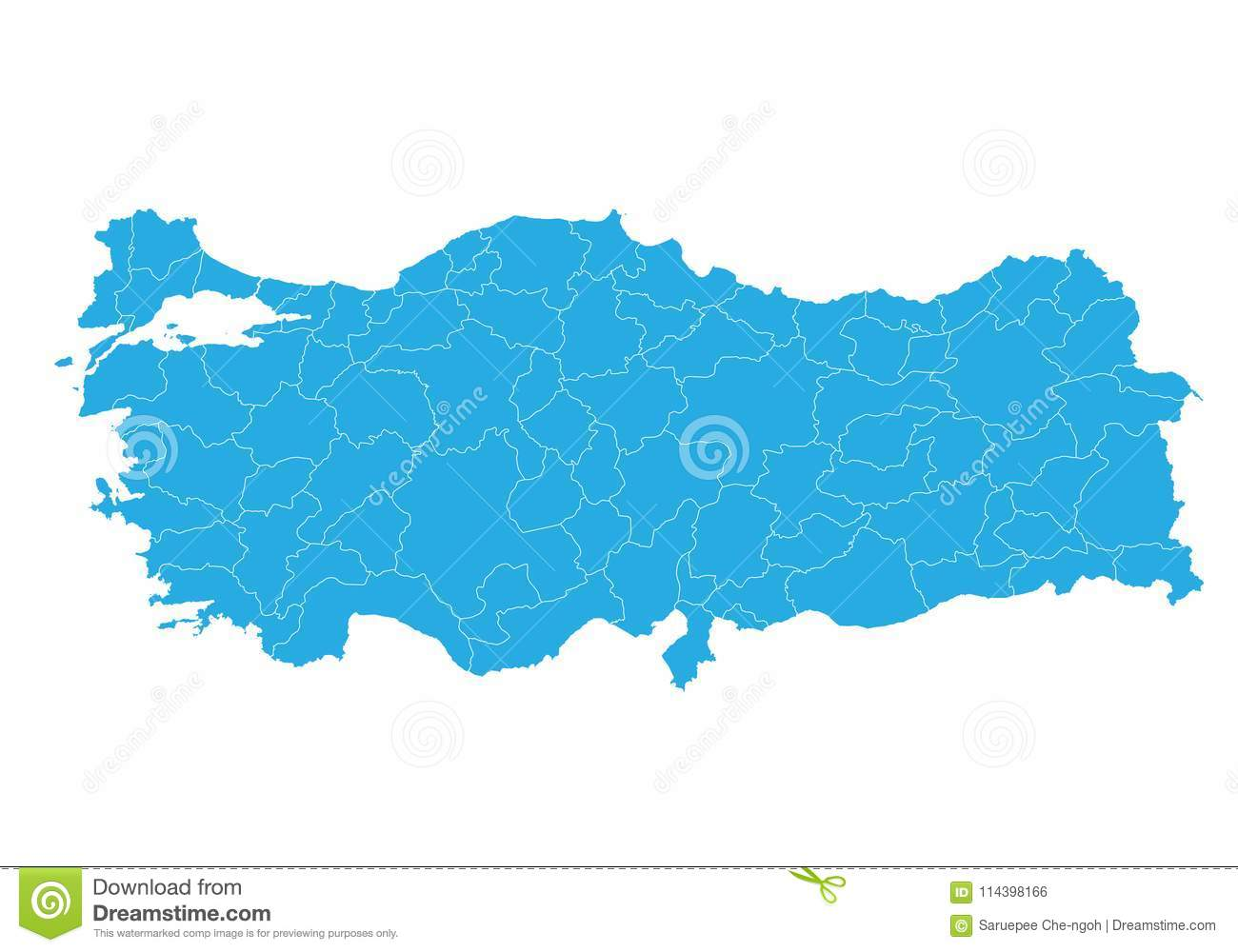 Map Of Turkey. High Detailed Vector Map - Turkey. Stock Vector ...