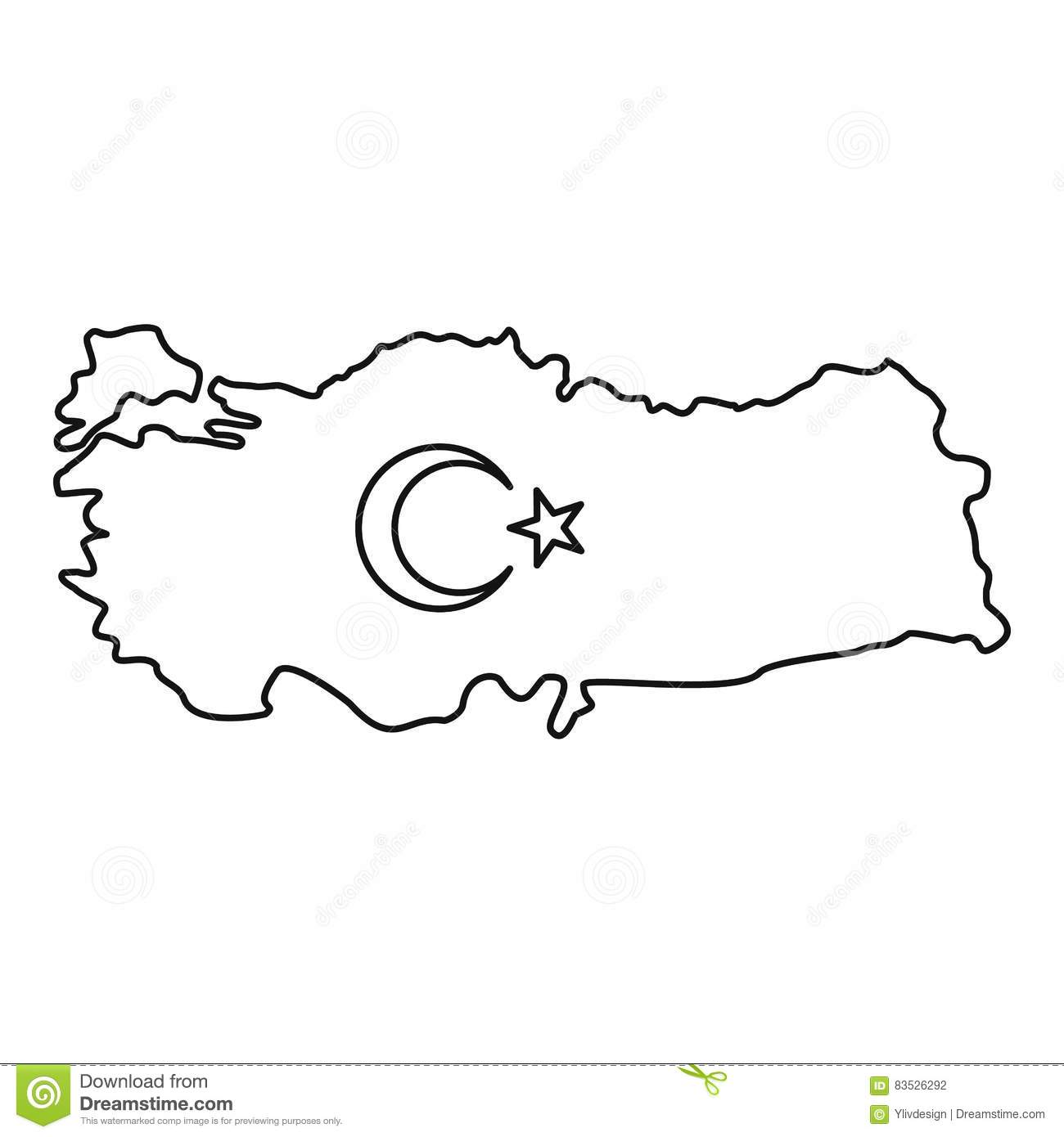 Map Of Turkey Icon, Outline Style Stock Vector - Illustration of ...