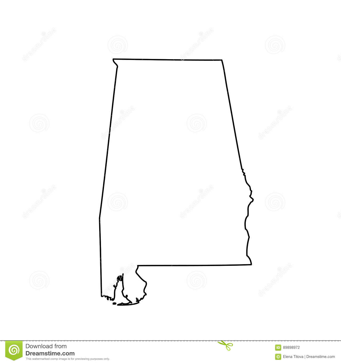 Map Of The U S State Alabama Stock Vector Illustration Of Area