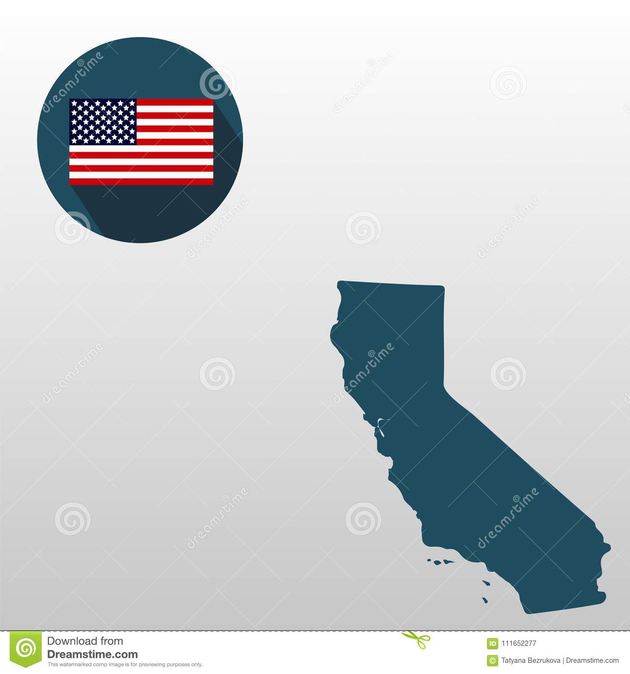 Map Of The Us State Of California On A White Background American - California-on-the-us-map