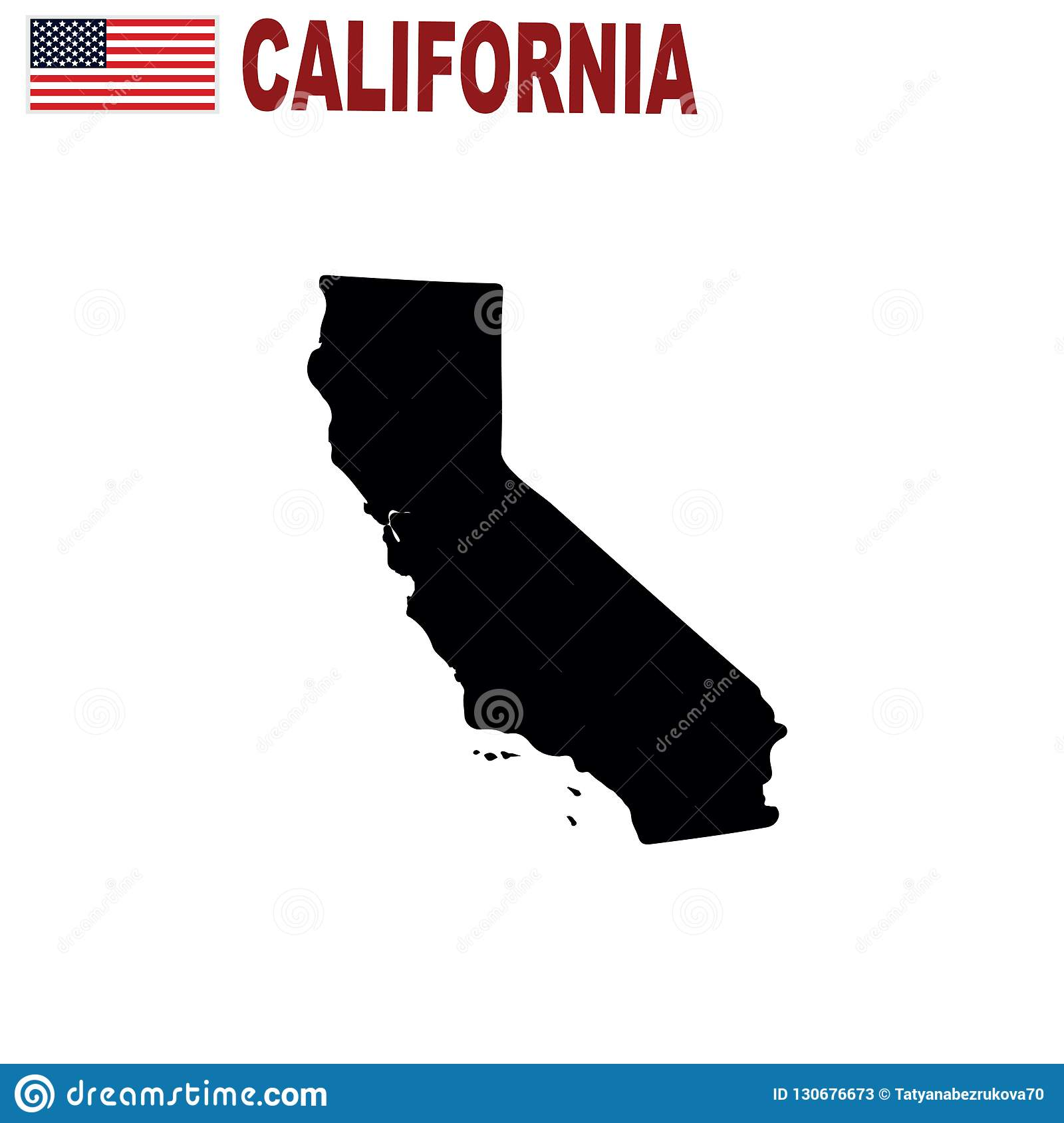 Map Of The Us State Of California On A White Background Stock - California-on-the-us-map
