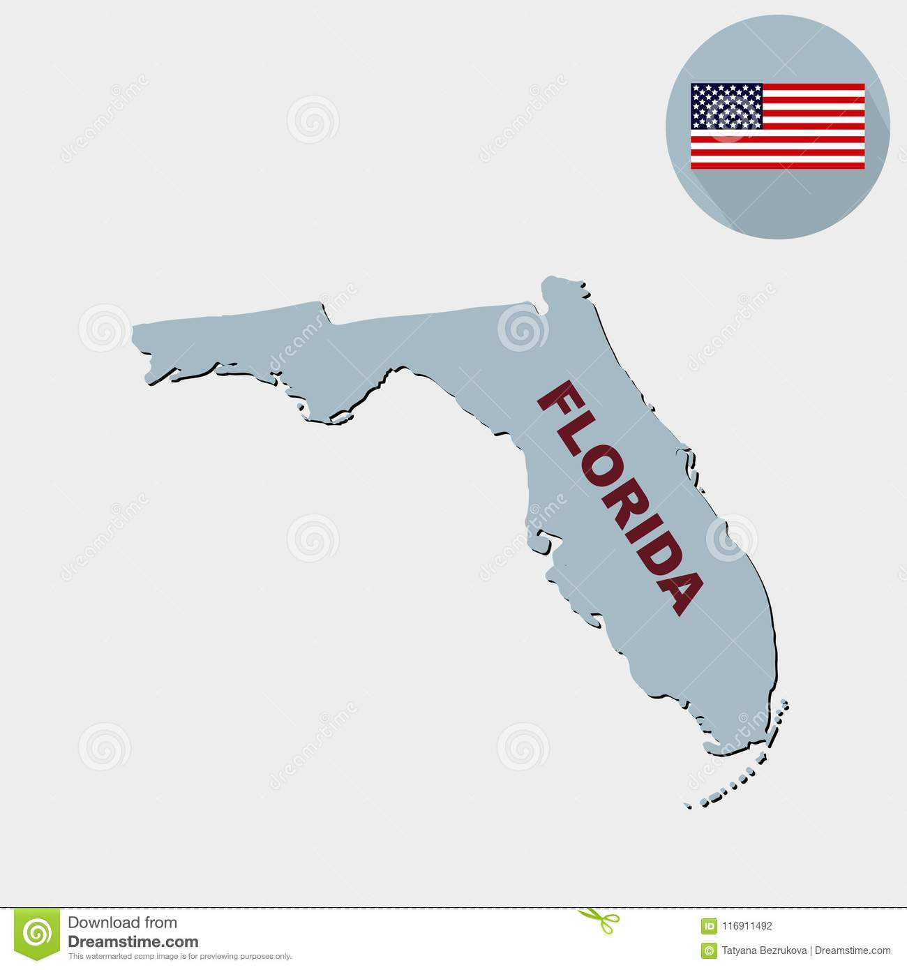 Map State Of Florida.Map Of The U S State Of Florida On A Grey Background Flag Sta
