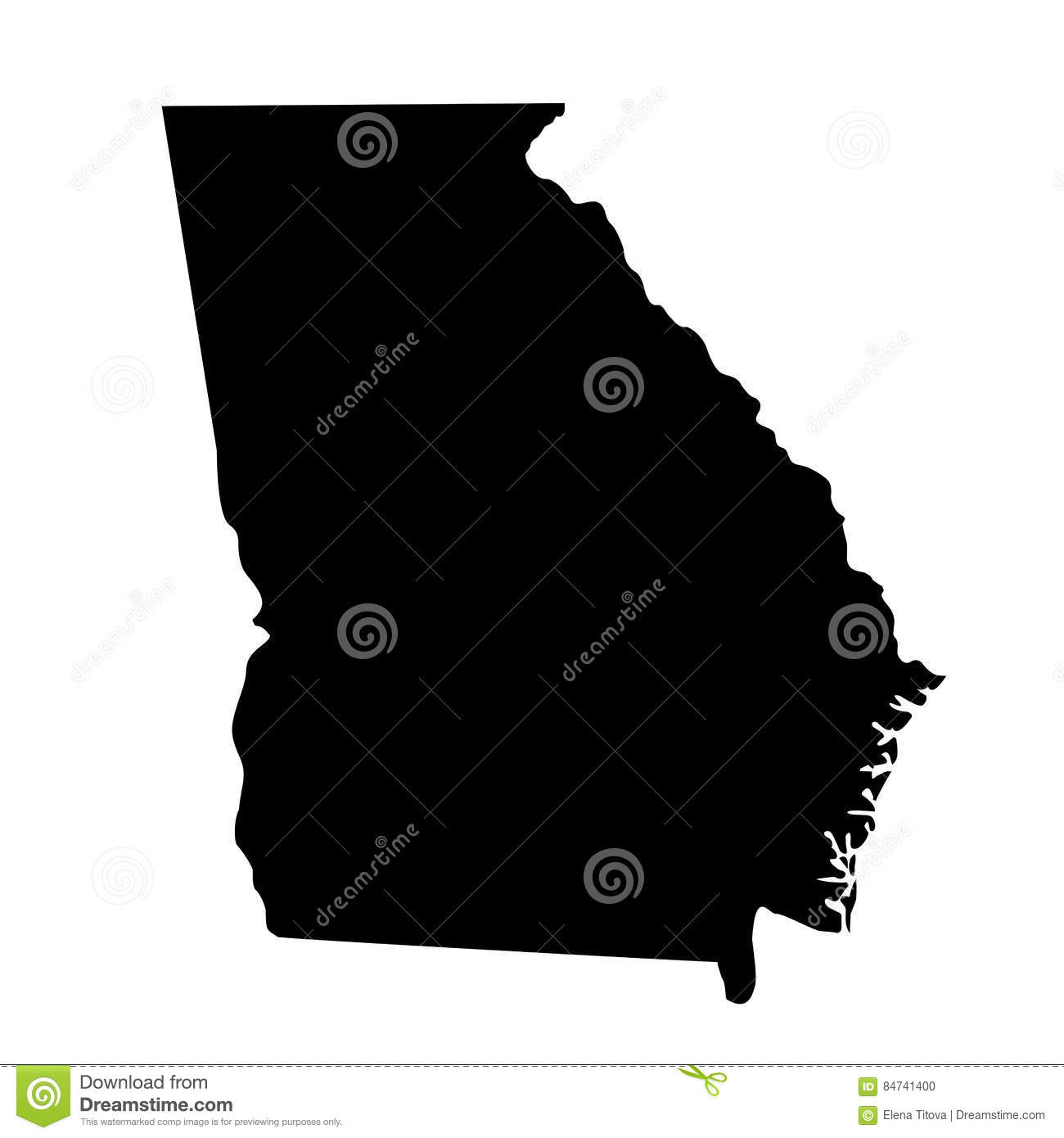 Us Map Of Georgia.Map Of The U S State Georgia Stock Vector Illustration Of