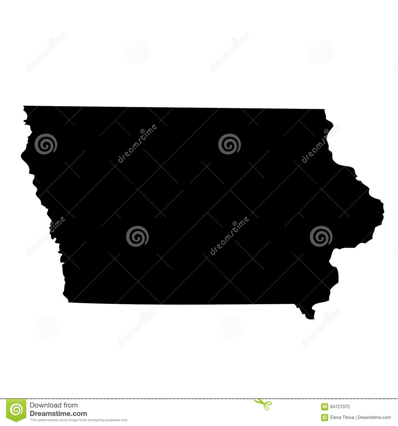 U Of Iowa Map.Map Of The U S State Iowa Stock Vector Illustration Of Frame